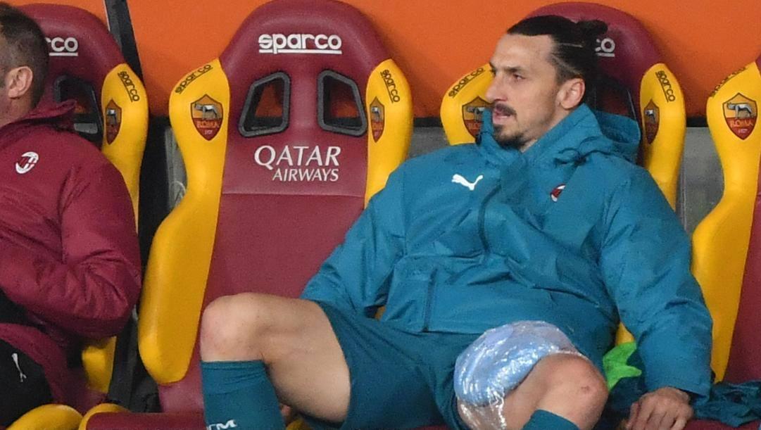 Zlatan Ibrahimovic infortunato contro la Roma. Afp