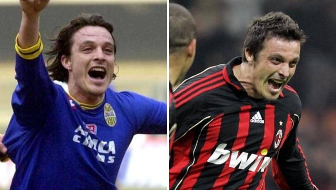 Massimo Oddo con la maglia del Verona e quella del Milan