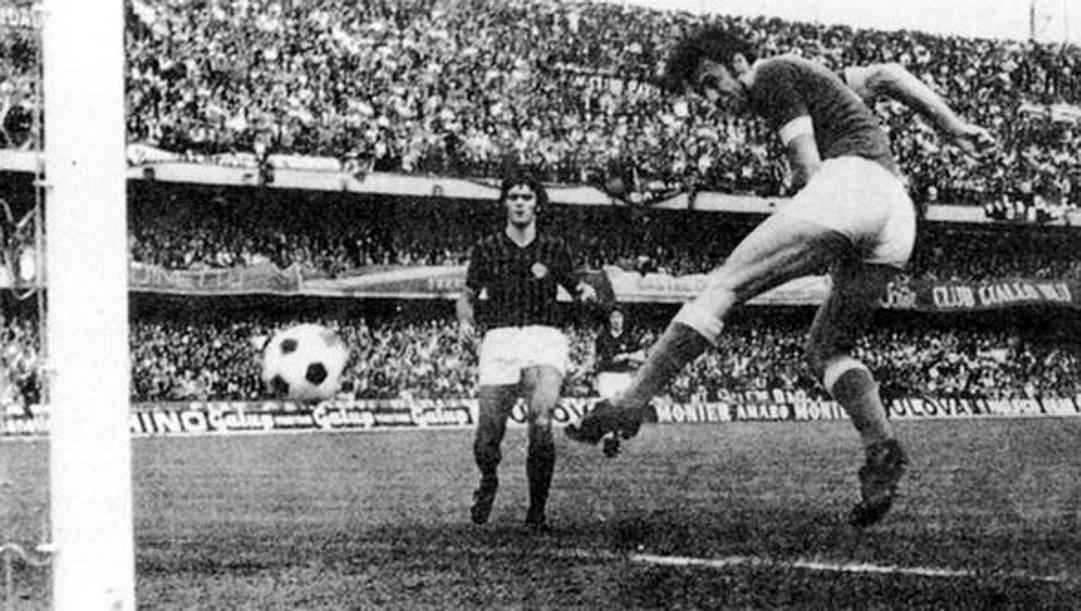 Il primo gol di Sirena del Verona. Archivio Rcs