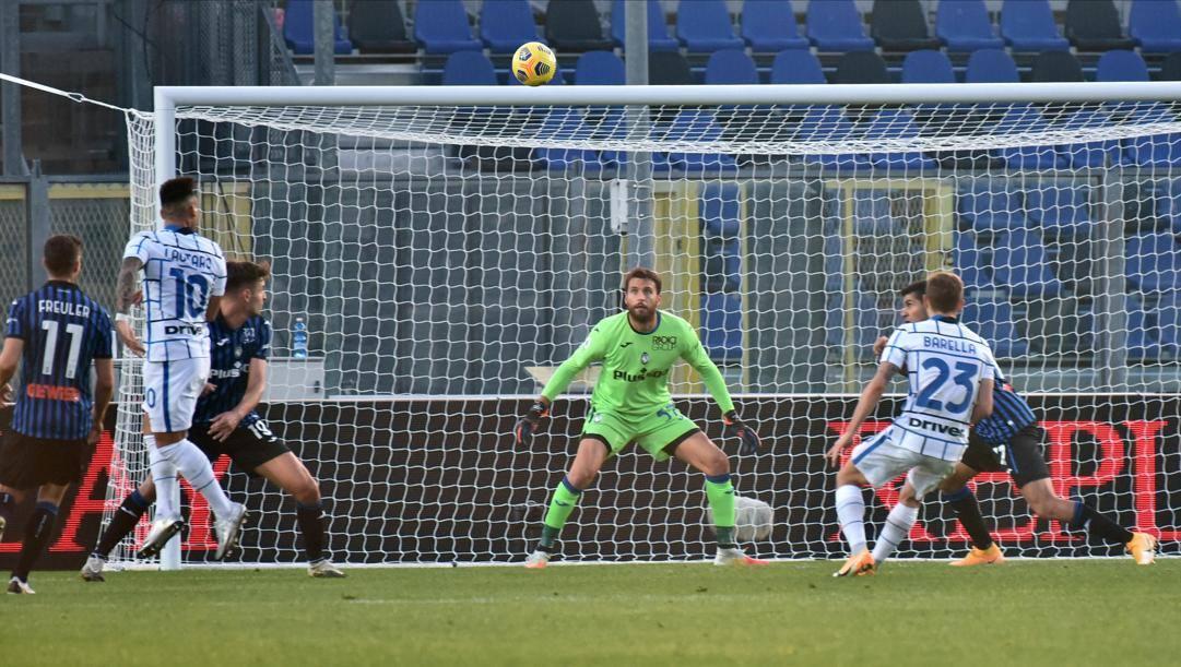 Il gol di Lautaro nel match d'andata. Ansa