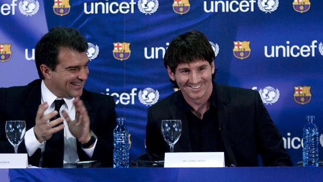 Laporta con Messi. Afp