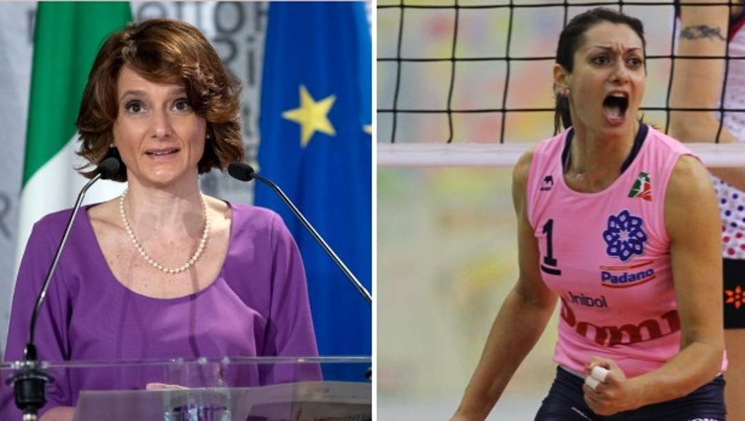 La ministra alle Pari opportunità, Elena Bonetti e la pallavolista Lara Lugli