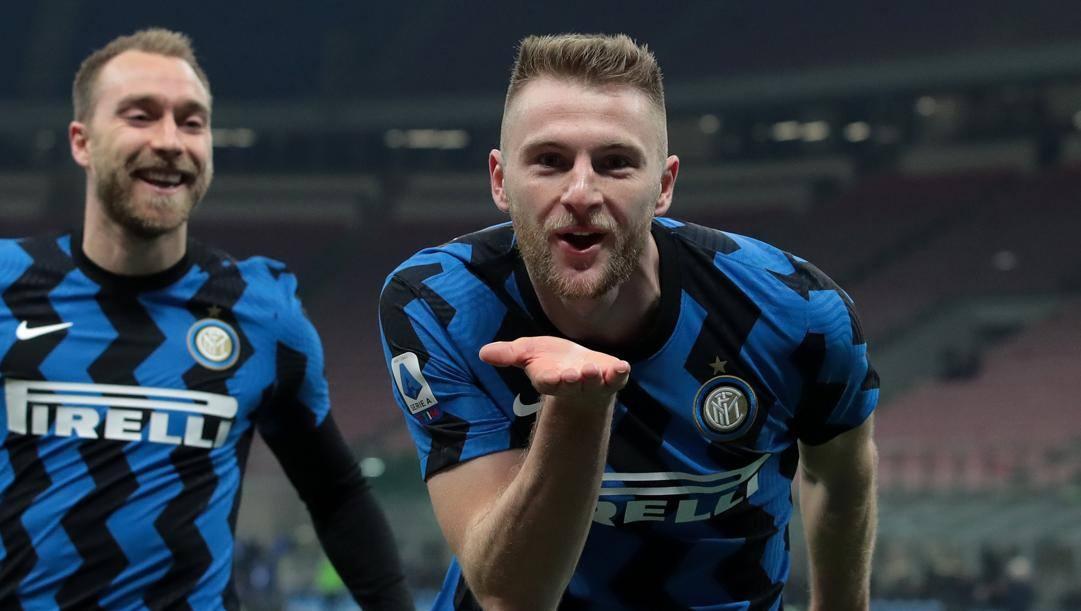 Milan Skriniar, 26 anni, esulta per il gol vittoria contro l'Atalanta (GETTY)