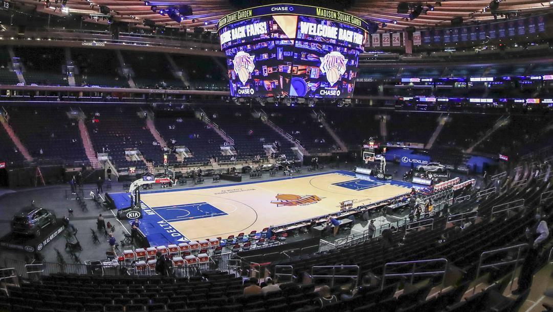 Il Madison Square Garden di New York, una delle 14 arene Nba che ha riaperto ai tifosi. Ap