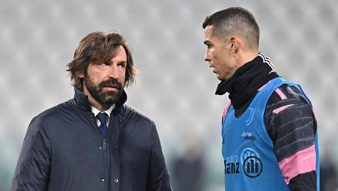 Andrea Pirlo e Cristiano Ronaldo. Ansa