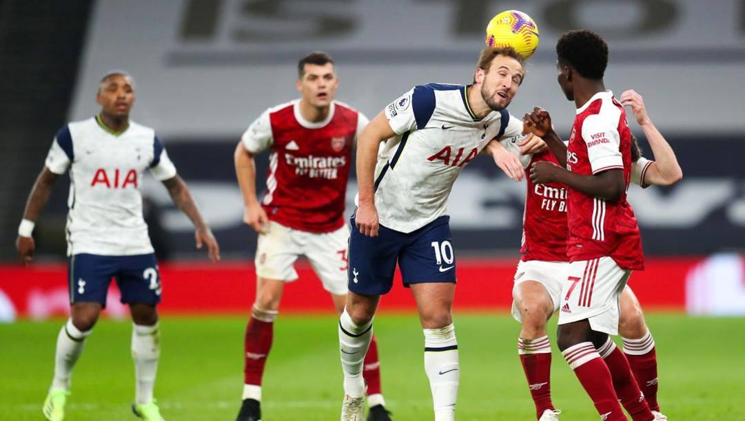 Una fase dell'ultima sfida di Premier League tra Arsenal e Tottenham, quella del 6 dicembre al Tottenham Stadium. Getty