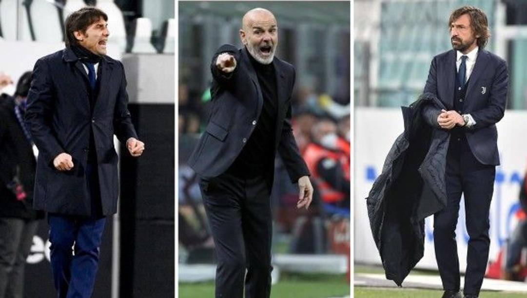 Da sinistra a destra: Antonio Conte (Inter), Stefano Pioli (Milan) e Andrea Pirlo (Juventus)