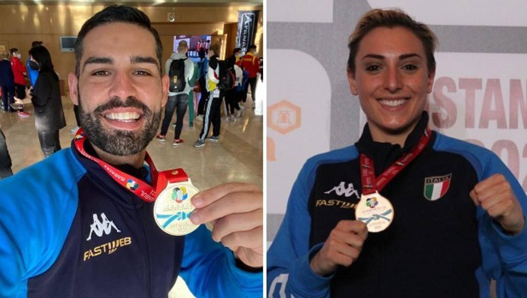 A destra Luigi Busà, oro nei -75 kg, a sinistra Silvia Semeraro, oro nei -68 kg