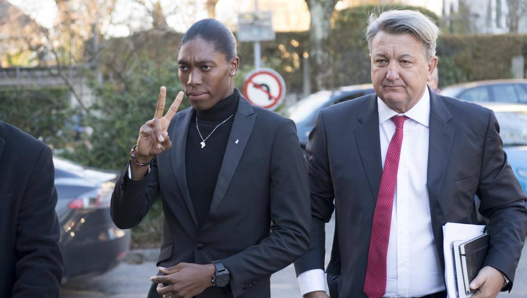 Caster Semenya con il suo avvocato. Ap