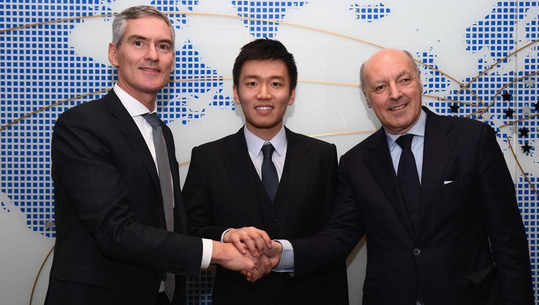 Il presidente dell'Inter Steven Zhang con gli ad Alessandro Antonello e Beppe Marotta. Getty