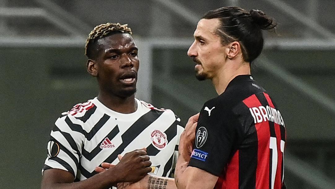 Zlatan Ibrahimovic con Paul Pogba. Afp