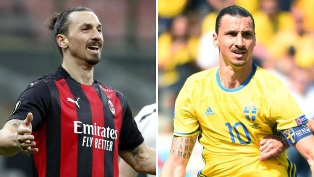 Zlatan Ibrahimovic in maglia Mian e con quella della Svezia