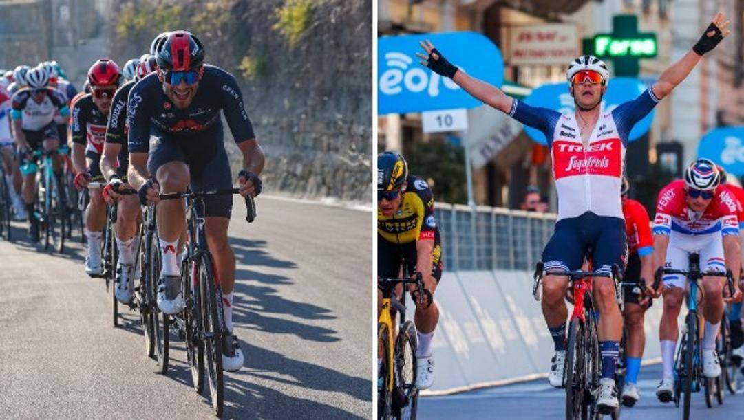 A sinistra Filippo Ganna, 24 anni, a destra  il vincitore Jasper Stuyven, 28.