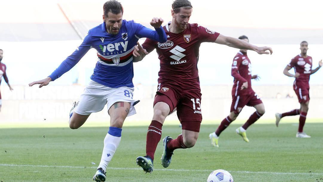 Antonio Candreva e Cristian Ansaldi, 34 anni. Lapresse