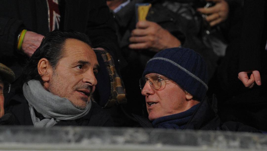 Da sinistra Cesare Prandelli e Arrigo Sacchi. Ansa