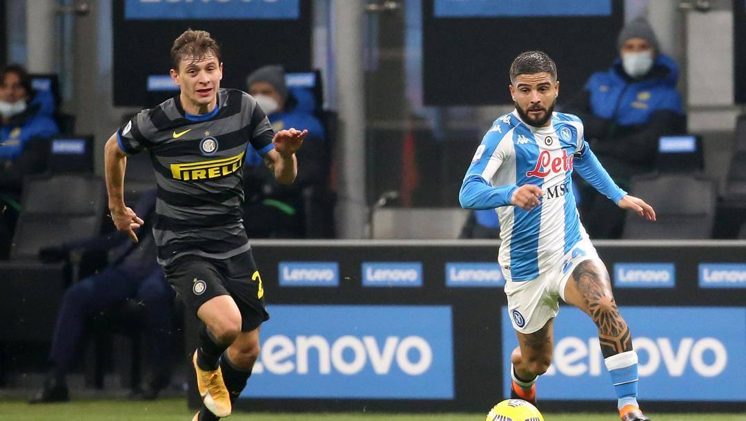 Un duello tra Barella e Insigne nel match d'andata tra Inter e Napoli. Ansa