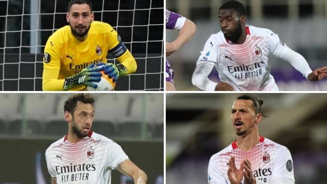 Gigi Donnarumma, Fikayo Tomori, Hakan Calhanoglu e Zlatan Ibrahimovic