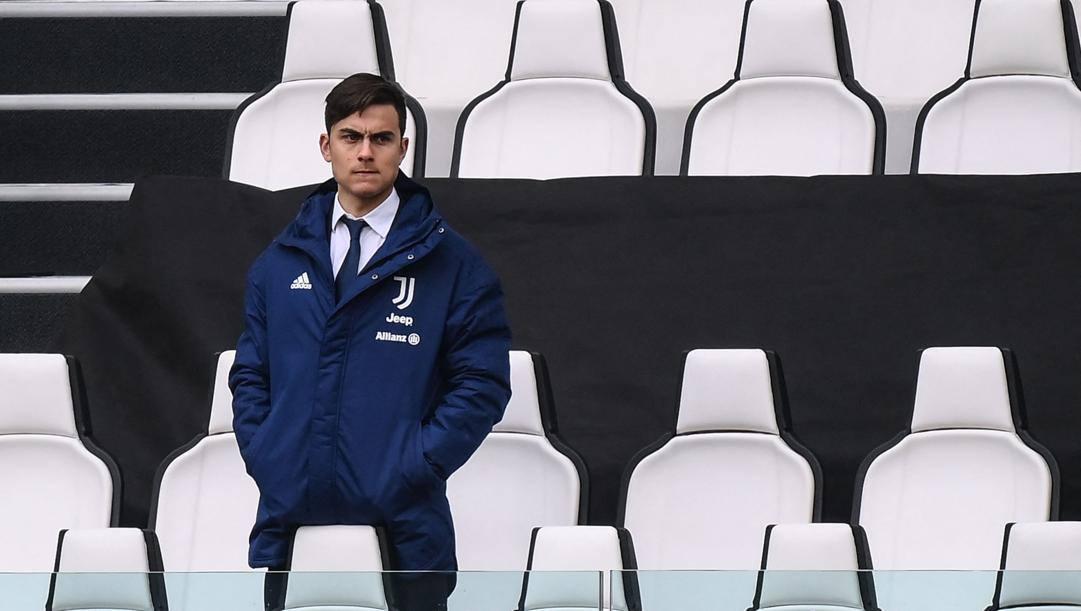 Paulo Dybala, 27 anni, domenica in tribuna contro il Benevento. Afp