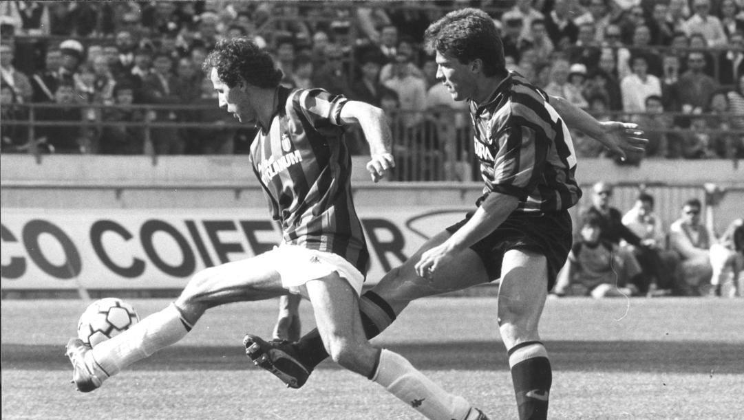 Franco Baresi in un derby contro Lothar Matthaus