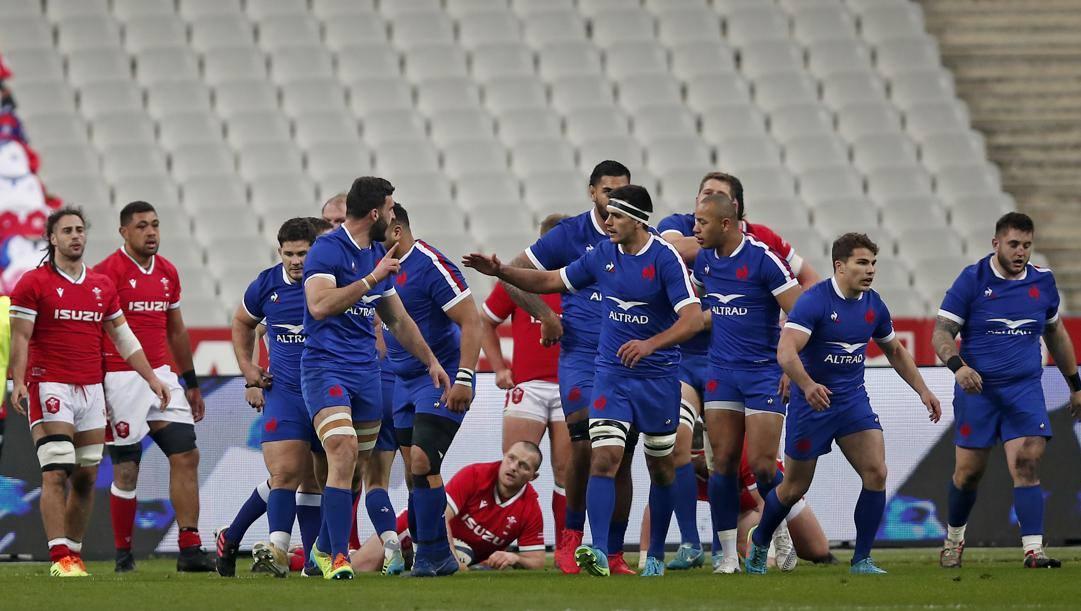 I francesi esultano dopo aver battuto il Galles all'ultimo secondo. Incubo gallese, ora il titolo ai Galletti? Ap