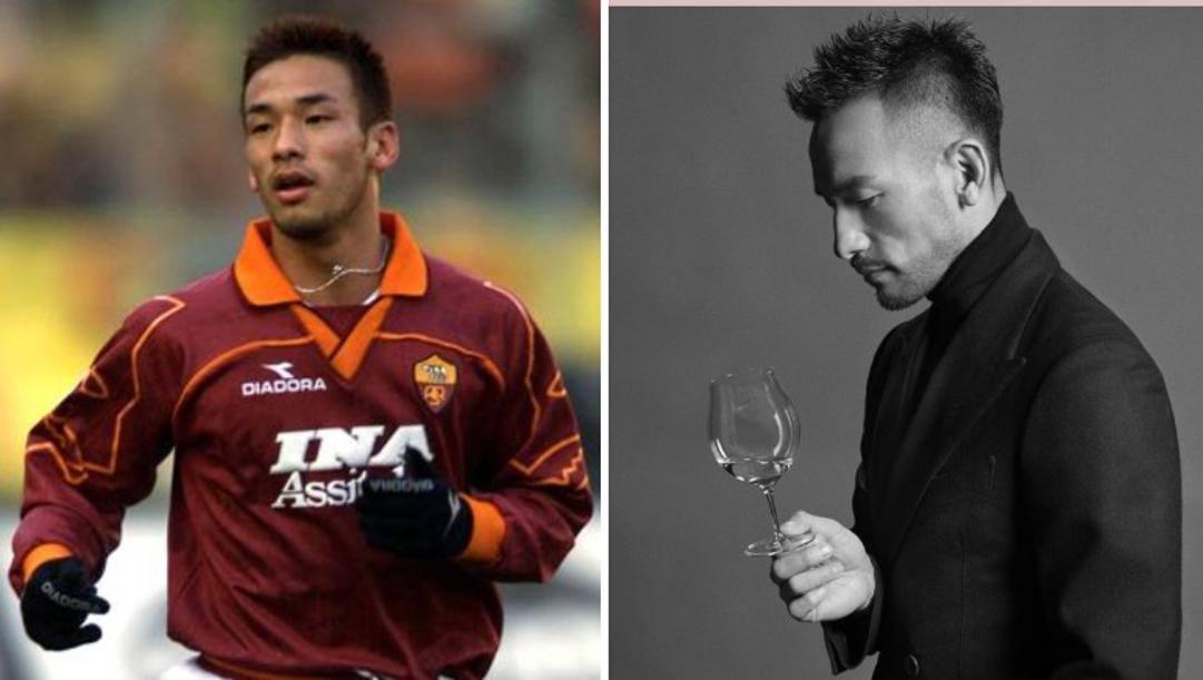 A sinistra: Nakata con la maglia della Roma. A destra: Nakata mentre sorseggia sakè