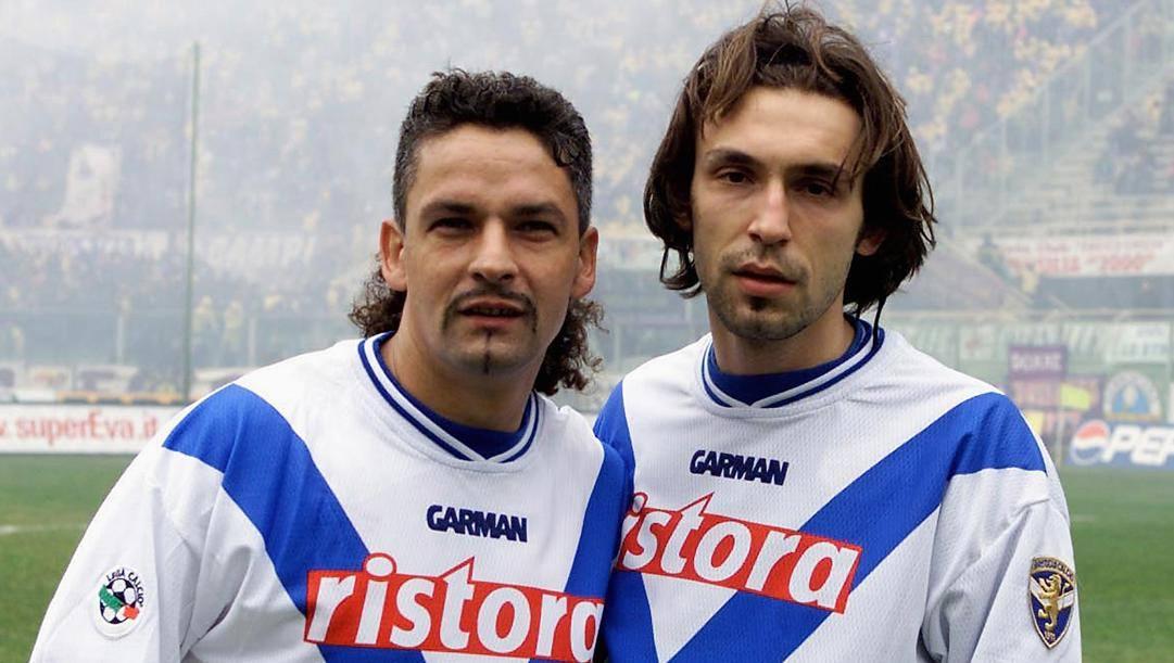 Da sinistra Roberto Baggio e Andrea Pirlo. Getty Images