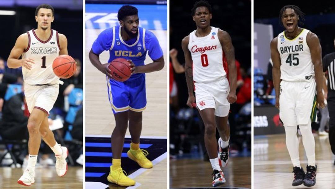 Da sinistra Jalen Suggs di Gonzaga, Cody Riley di UCLA, Marcus Sasser di Houston, Davion MItchell di Baylor. Afp