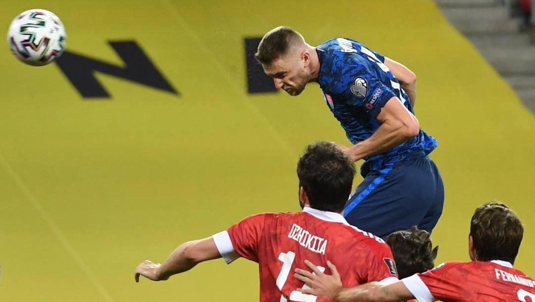 Il gol di Skriniar alla Russia. Ap