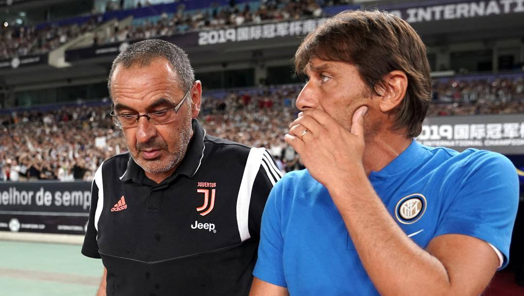 Maurizio Sarri e Antonio Conte. Getty