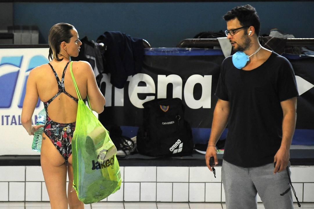 Federica Pellegrini, 32 anni, e il  tecnico Matteo Giunta, 38 anni. Afp
