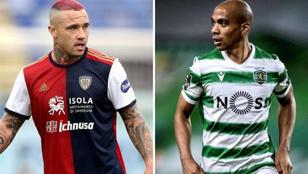 Radja Nainggolan (32 anni, al Cagliari) e Joao Mario (28, allo Sporting Lisbona). GETTY-AFP