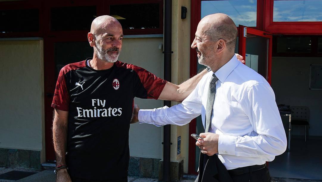 Stefano Pioli con l'a.d. Ivan Gazidis. LaPresse