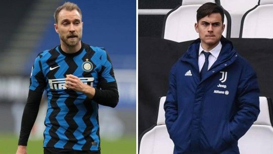 A sinistra Christian Eriksen (29 anni), a destra Paulo Dybala (27 anni).
