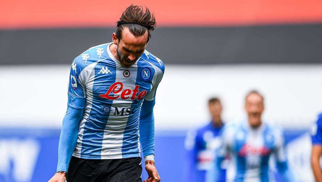 Fabian Ruiz festeggia il gol a Marassi. Getty