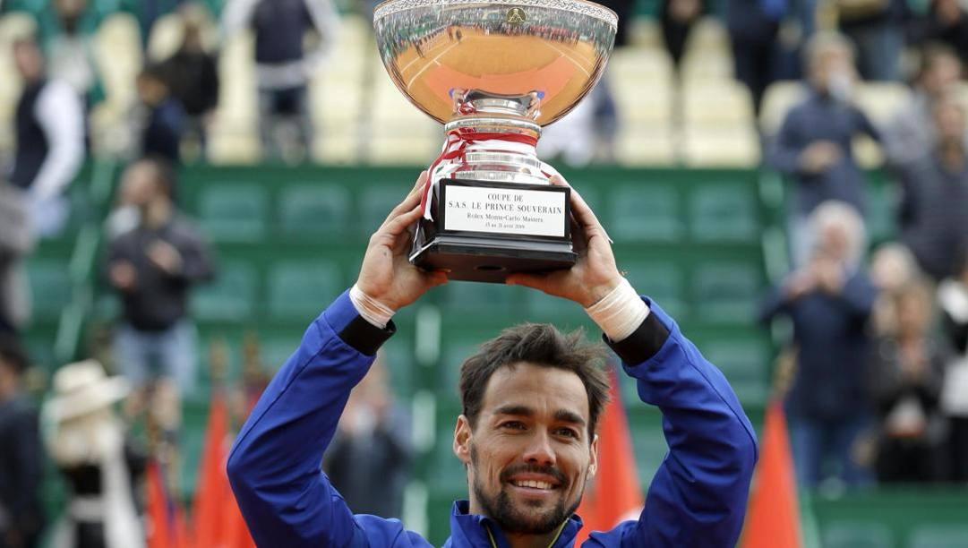 Fognini dopo la vittoria a Montecarlo nel 2019. Ansa