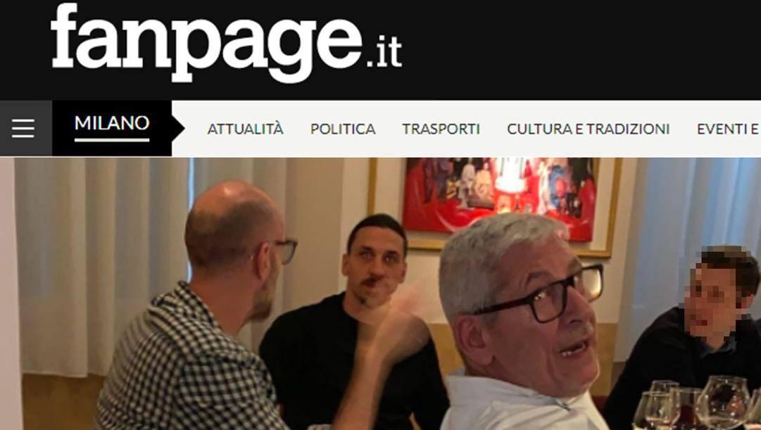 La foto di Fanpage.it che mostra Ibra a tavola con gli amici