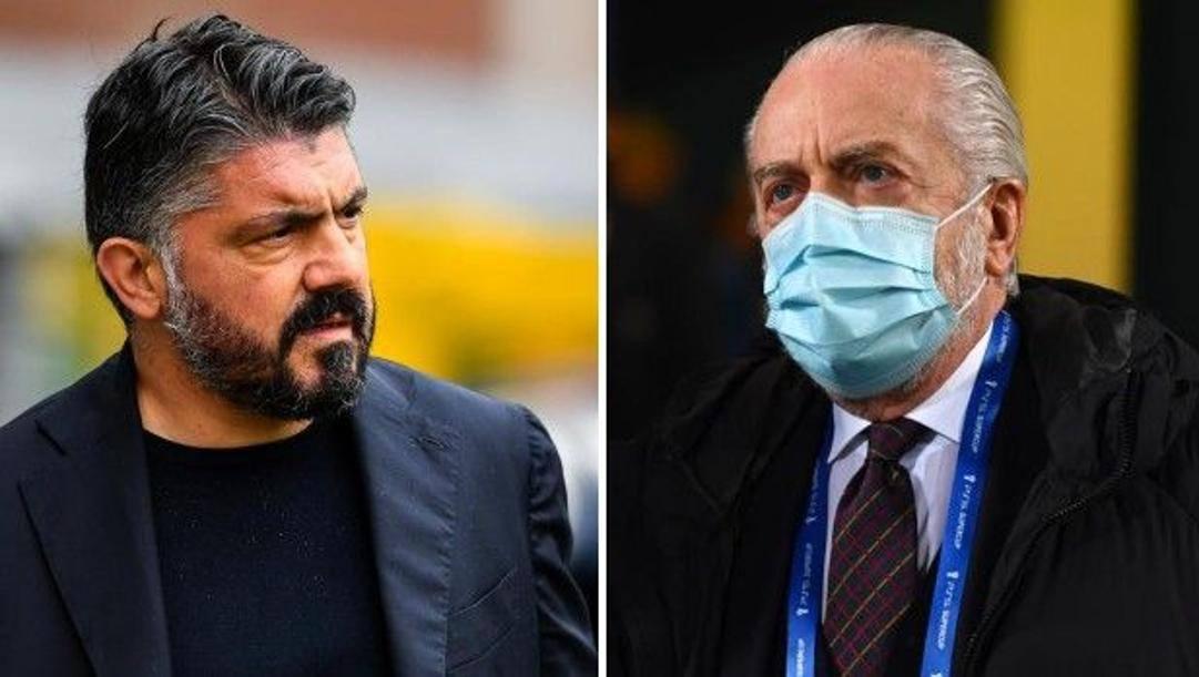 A sinistra Gennaro Gattuso (43 anni), a destra Aurelio De Laurentiis (71 anni).