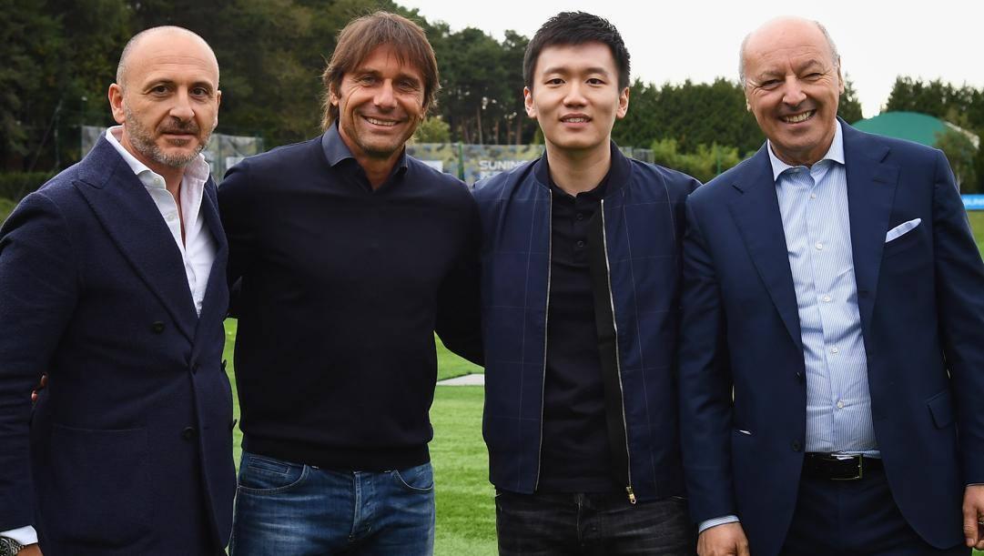 Zhang jr. con il ds Ausilio, Conte e l'ad sportivo Marotta. Getty
