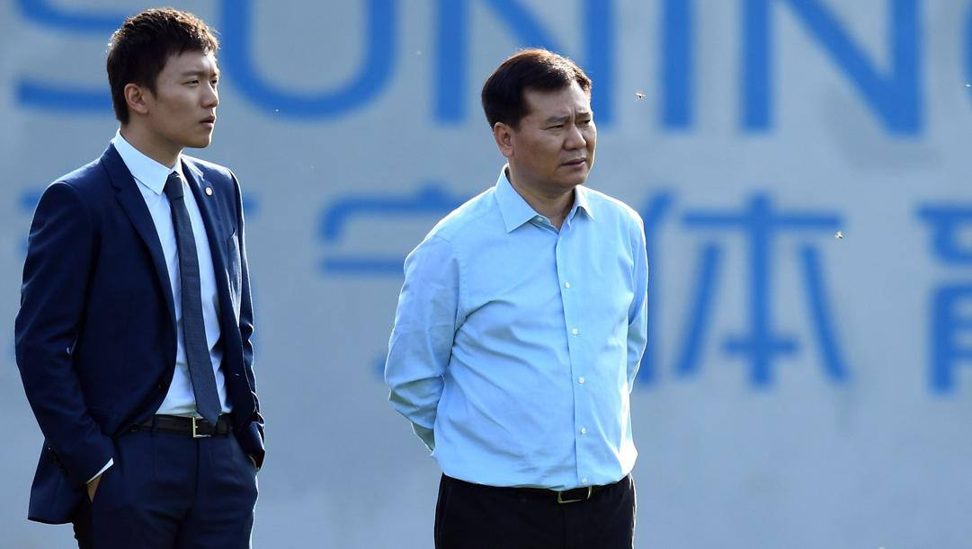 Il presidente dell'Inter Steven Zhang col padre Jindong. Getty