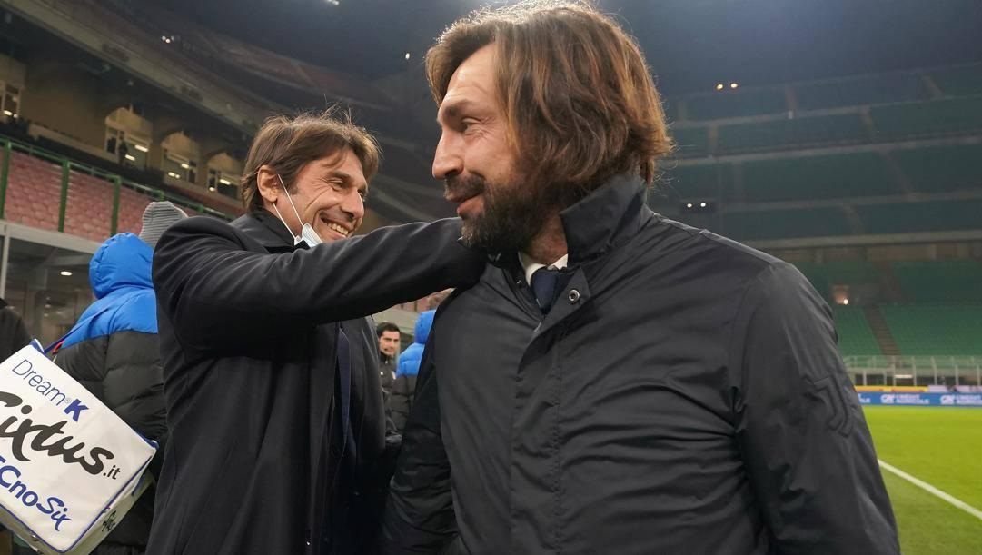 Nella foto Antonio Conte (51 anni) e Andrea Pirlo (41 anni), Getty Images