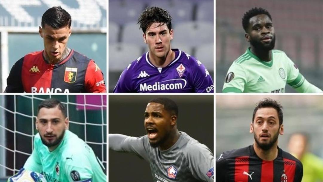 Dall'alto, a sinistra: Scamacca (Genoa), Vlahovic (Fiorentina), Edouard (Celtic), Donnarumma, Maignan (Lilla) e Calhanoglu