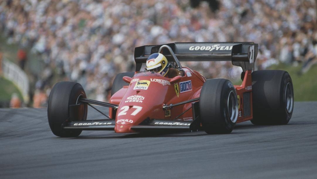 Michele Alboreto sulla Ferrari a Brand Hatch 1984. Getty