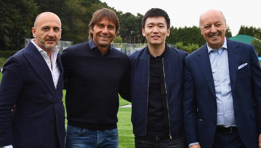 Da sinistra, Ausilio, Conte, Zhang e Marotta. Getty