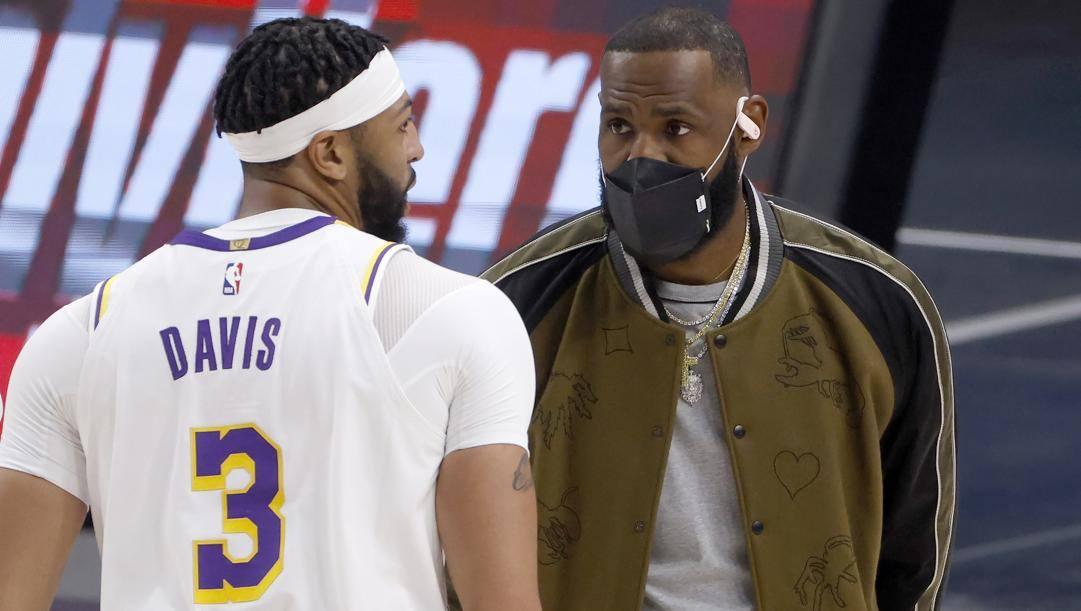 Anthony Davis, 28 anni, e LeBron James, 36. LaPresse
