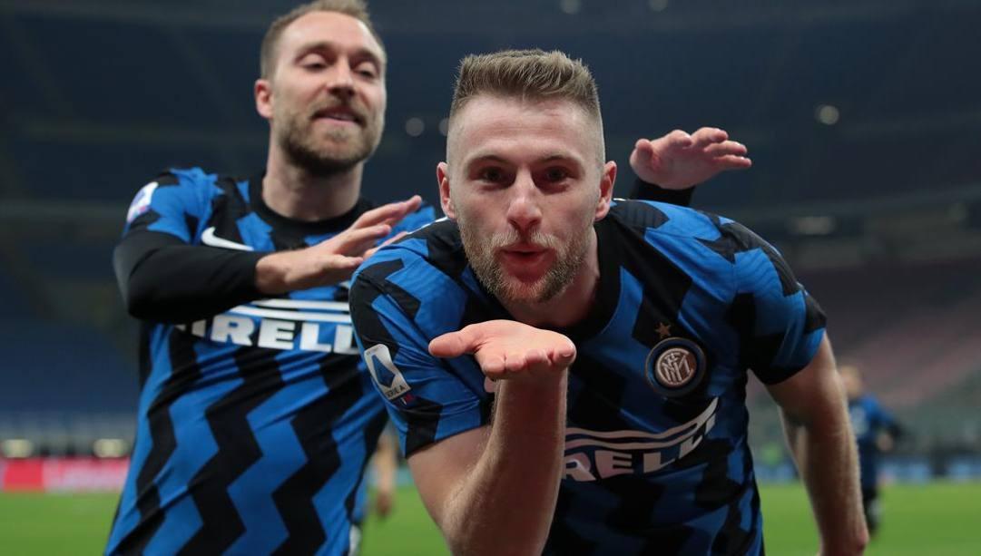 Milan Skriniar dopo il gol all'Atalanta. Getty
