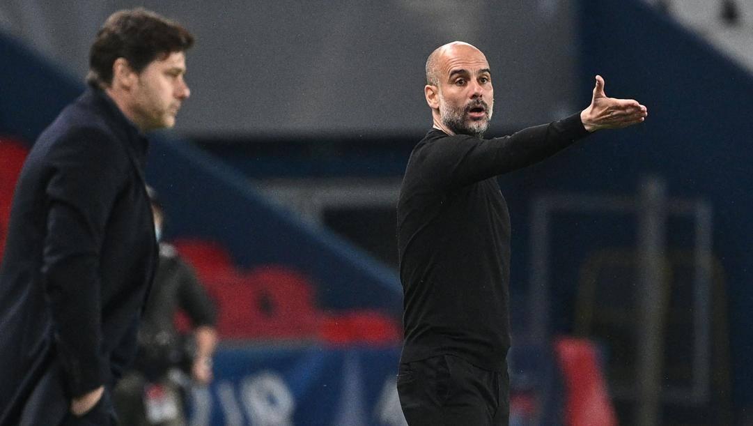 Sullo sfondo Mauricio  Pochettino (49 anni), in primo piano Pep Guardiola (50 anni)