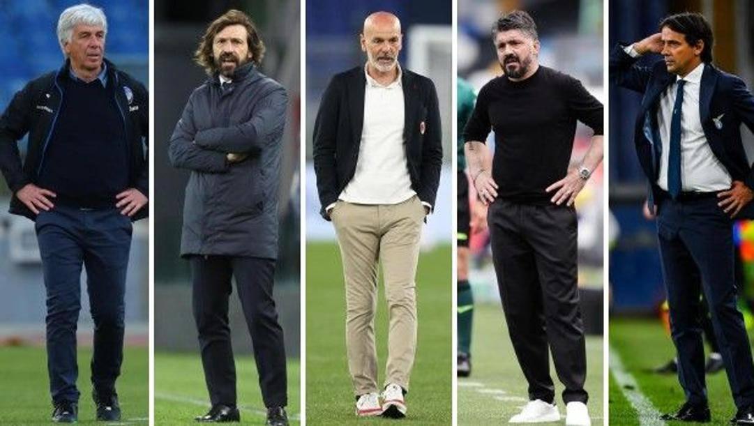 Da sinistra a destra: Gasperini (Atalanta), Pirlo (Juventus), Pioli (Milan), Gattuso (Napoli) e Simone Inzaghi (Lazio)