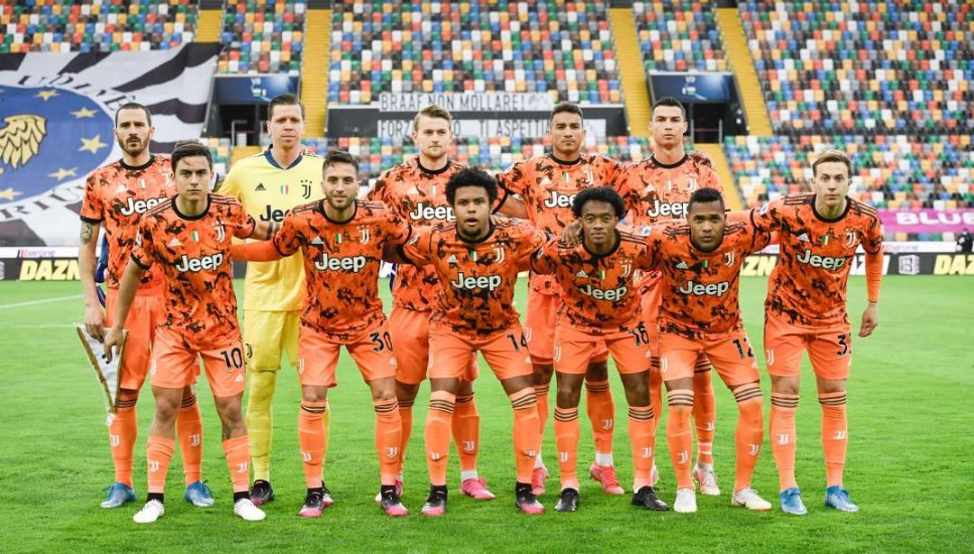 La formazione iniziale della Juventus a Udine. Ansa