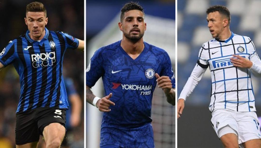 Da sinistra: Robin Gosens (Atalanta, 26 anni), Emerson Palmieri (26, Chelsea), Ivan Perisic (32, Inter). AFP-GETTY-GETTY