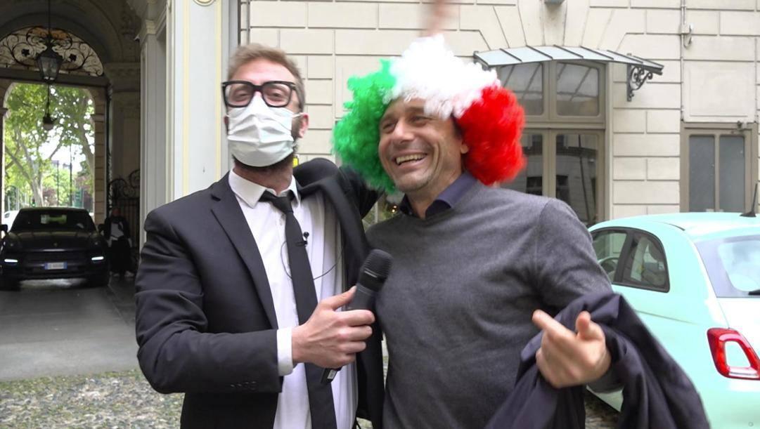 Antonio Conte con Stefano Corti delle Iene